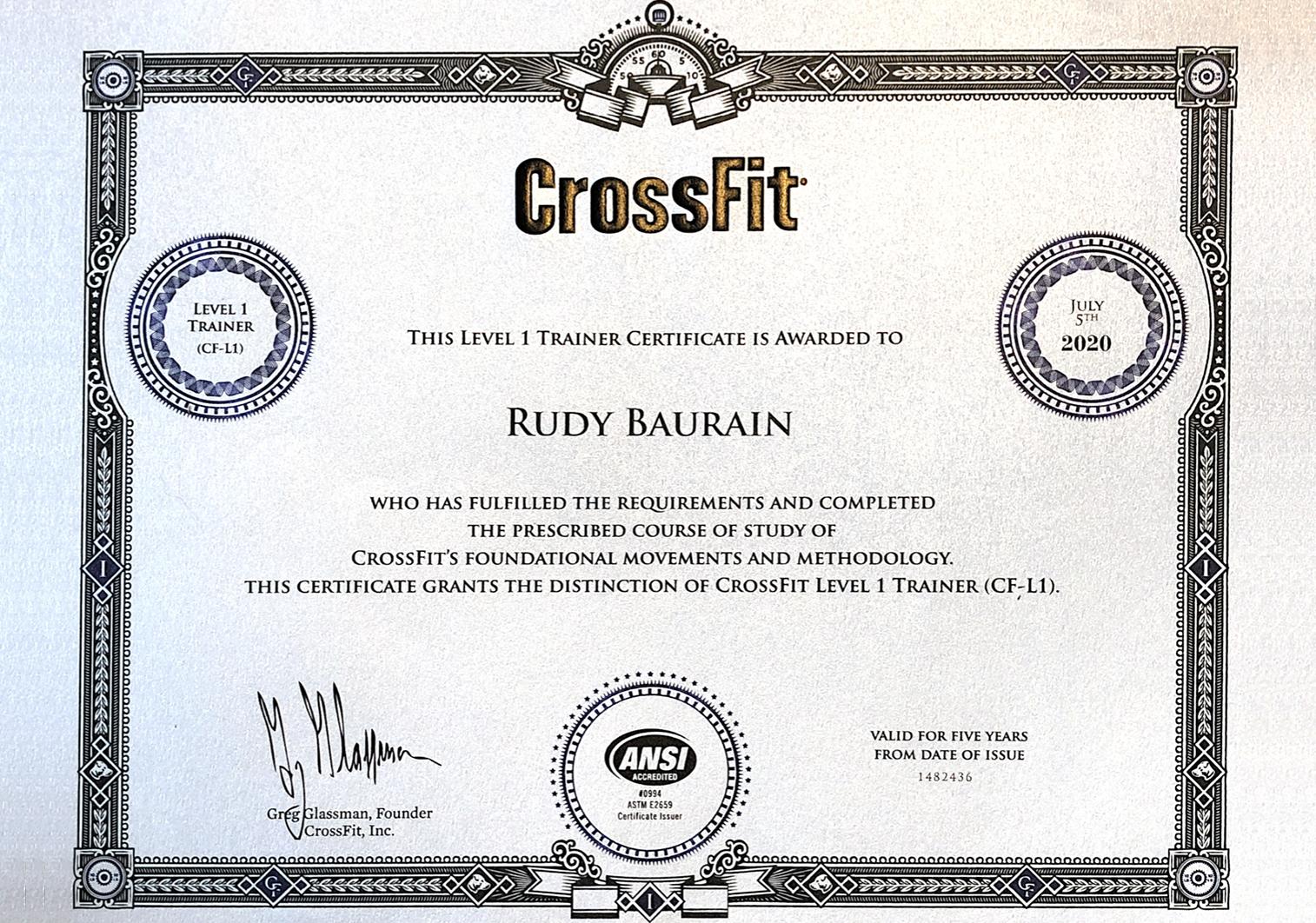 Diplôme CrossFit